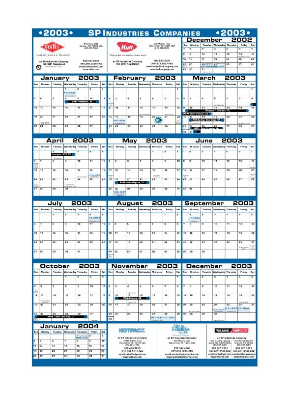2003 SP Industries Calendar